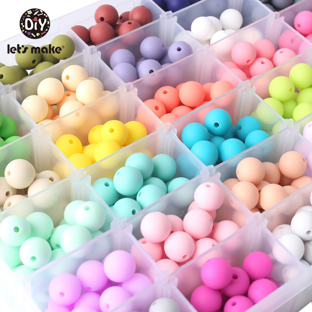 Let's Make Baby Silicone Beads 15mm 40pc Baby DIY Beads BPA Free Silicone Teether Beads Baby Chewable Beads Nursing Accessory