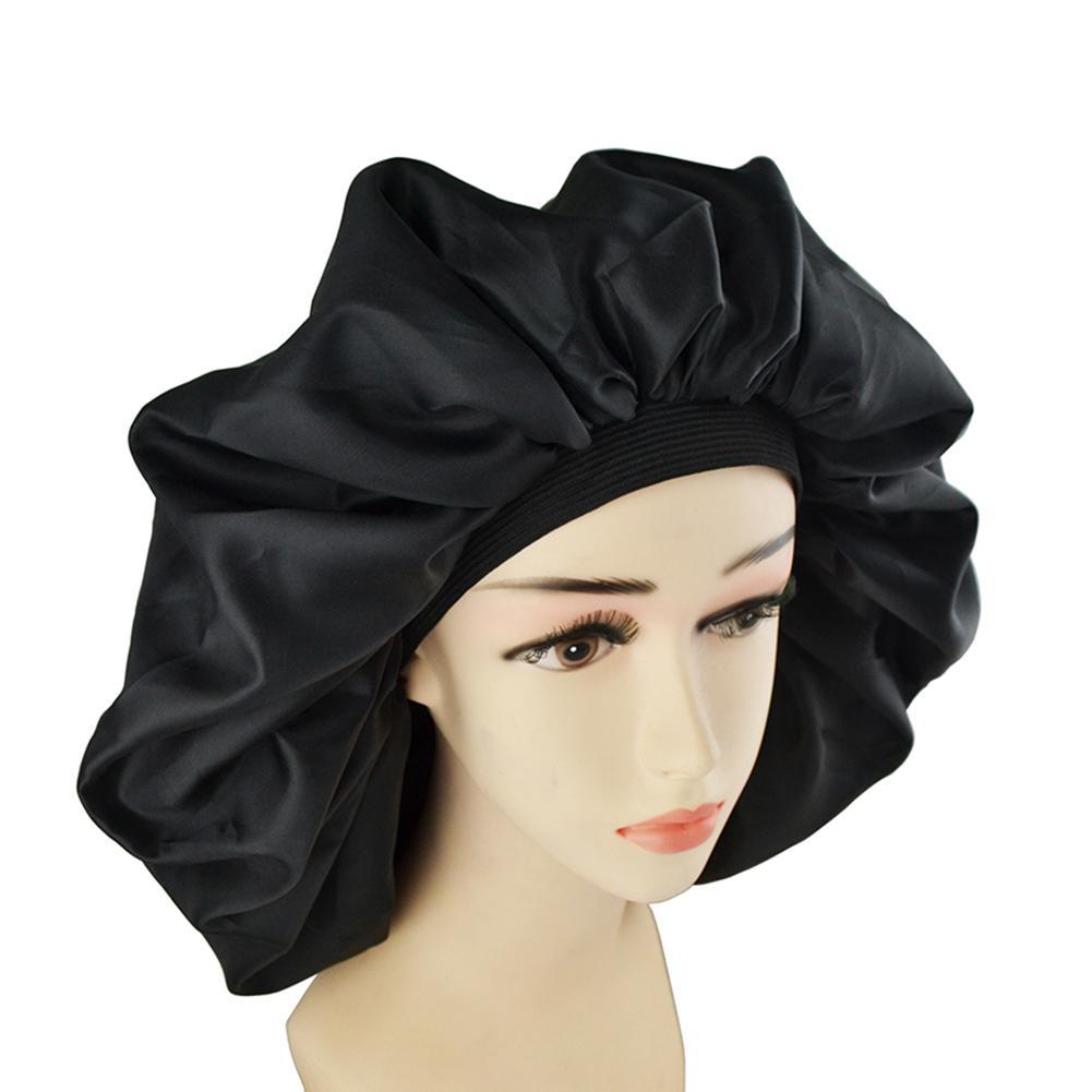 Hair Cap Large Night Sleep Cap Hair Bonnet Hat Head Cover Satin Wide Band Adjust Elastic Hair Care Bonnet Night Cap