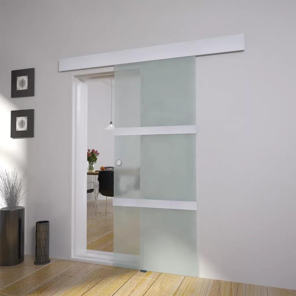 VidaXL Sliding Door Glass And Aluminium 178cm Silver 60266