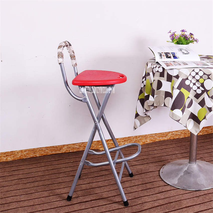 BS-02B Modern Simplicity Front Desk Chair Carbon Steel Pipe Folding Balcony Fishing Stool Portable Bar High Stool With Footrest