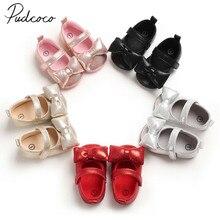 Г. Детские первые ходунки для маленьких принцесс, мягкие пинетки для маленьких девочек Кожаные Мокасины нескользящие для малышей блестящие туфли с бантом