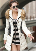 OKOUFEN Fashion Clothing Fur Hooded Zipper Long Style Women Warm Coat Winter parkas coat