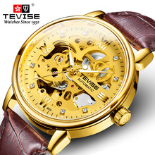 2020 New TEVISE Fashion Men Mechanical Watch Top Luxury Skeleton Automatic Wristwatch Leather Sport Male Clock