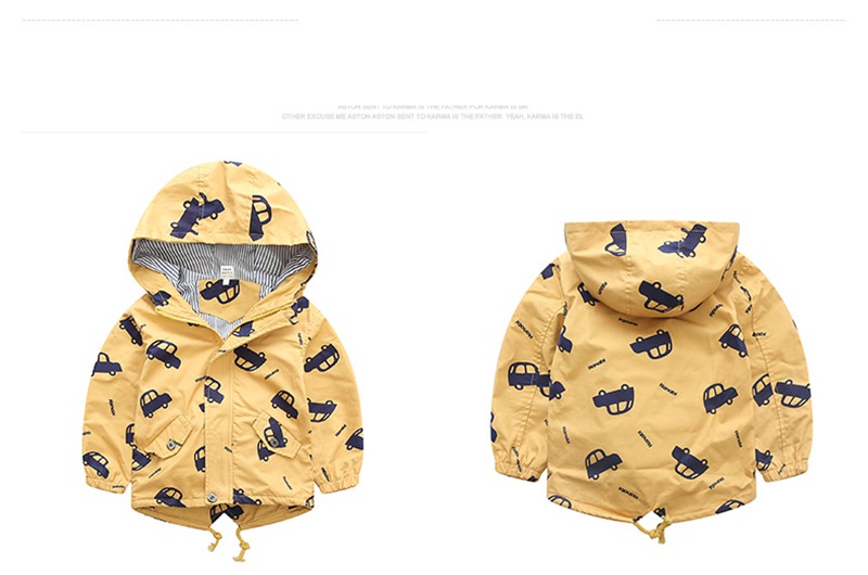 H0769ecf866e14ebb9a841da2d4ae6e39P - 70-120cm Autumn Winter Jacket Boys Girls Kids Outerwear Cute Car Windbreaker Coats Print Canvas Baby Children Clothing