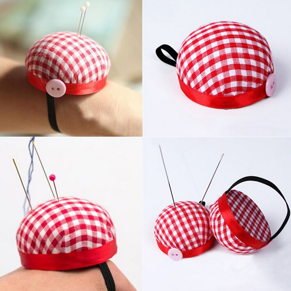 Cross Stitch Tool Cute Tomato Pin Plaid Portable Hand Wrist Tomato Needle Inserter