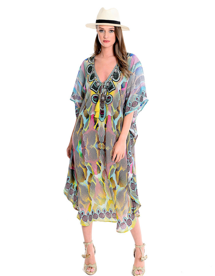 Hot Selling V-neck Chiffon Colorful Snakeskin Printed Beach Skirt Loose And Plus-sized Robe-like Bikini Cover-up Women's
