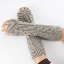 2021 New Fashion Women Ladies Casual Knitted Wrist Arm Hand Cover Winter Warmer Long Fingerless Mittens Black White Gray Gloves