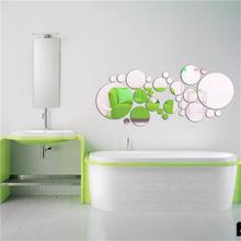 цена на Wall Sticker For Room/Bedroom Decoration DIY Home-Decor Living Room Crystal Spot Pattern Acrylic Mirror Wall Stickers 30PCS/Set