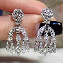 Huitan Retro High-quality Silver Plated Dangle Earrings Women Vintage Wedding Party Elegant Female Accessories Luxury CZ Jewelry
