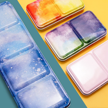Starry Watercolor/Oil/ Acrylic Paints Tins Box Empty Palette Painting Storage Paint Tray with Half Pans For Art Supplies
