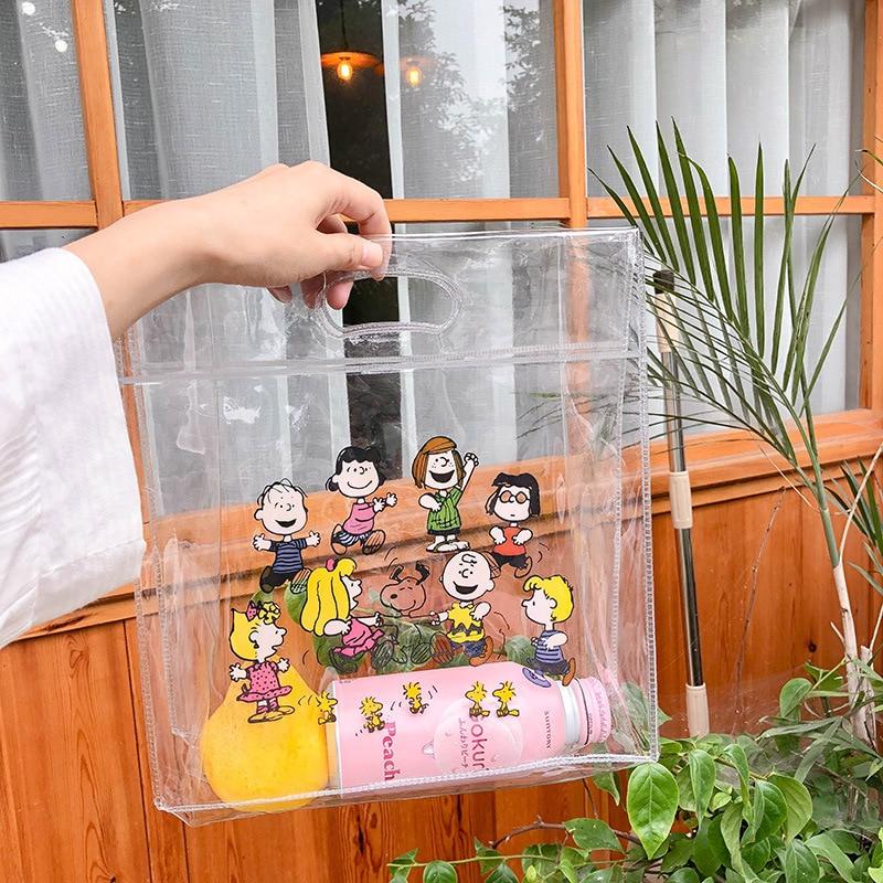 Cartoon Jelly Bag For Women Transparent Handbag Femme Shopping PVC Clear Bag Lady Handbag New 2019 Portable Clutch Beach Bag Sac