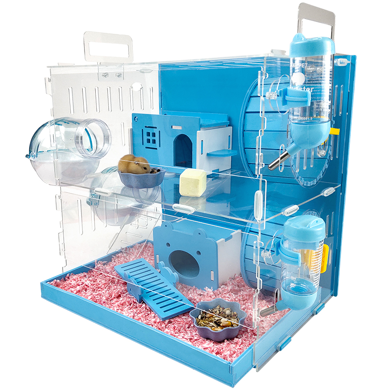 Blue Hamster House Large Size Acrylic Villa Double Guinea Pig Cage Small Pet For A Hamster Bservation Nest