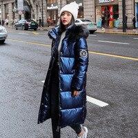 Frauen Winter Neue Pelz Kragen Mit Kapuze Lange Über-Die-Knie Mantel Pu Helle Haut Ist Dünne Koreanische unten Parker Baumwolle Frau Jacke