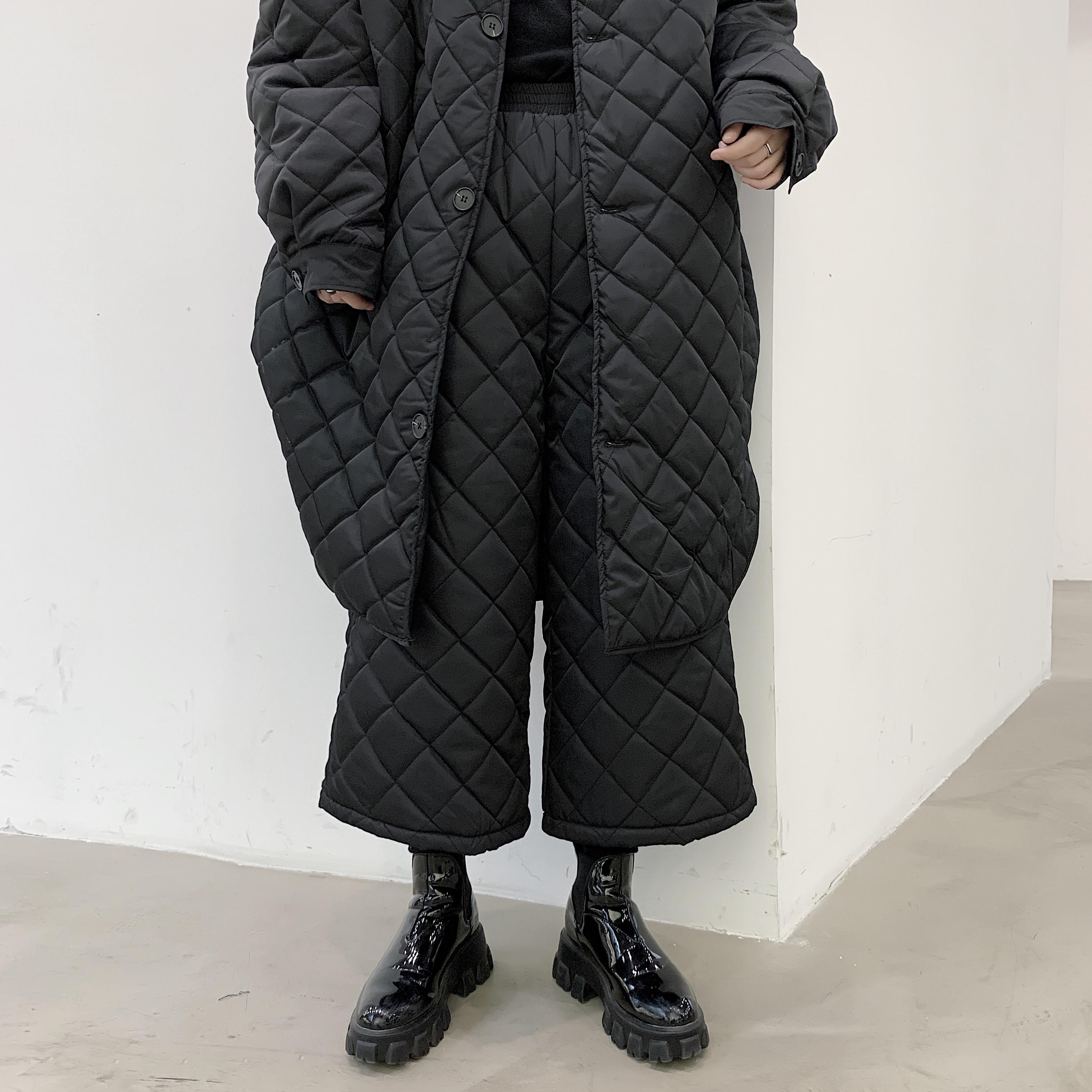 Men Winter Cotton Padded Thick Japan Straight Kimono Pant Male Street Fashion Hip Hop Wide Leg Trousers Diamond Harem Pant