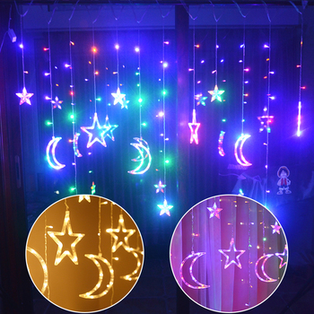 Sale LED Star Moon Curtain Lights Christmas Garlands String Fairy Lights 220V Outdoor For Wedding Holiday Party New Year Decor 220v 138pcs led fairy string lights star curtain lights waterproof outdoor christmas decorations for home wedding garlands natal
