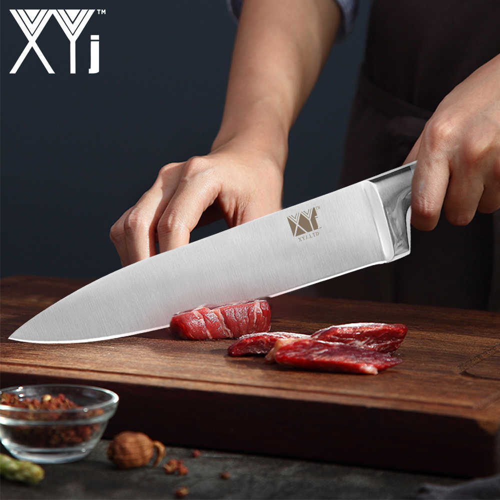 "XYj Stainless Steel Knife Set Hot Sale Straight Handle Kitchen Knife 8"" 7"" 6"" 5"" 3.5"" inch And Knife Holder Chicket Bone Scissor"