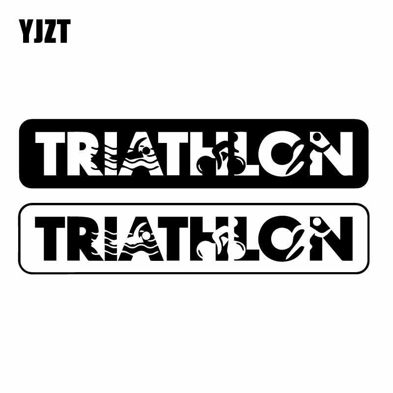 YJZT 17.7CM*7.9CM Triathlon Sports Swimming Cycling Running Creative Vinyl Decal Car Whole Body Decoration Stickers C31-0479