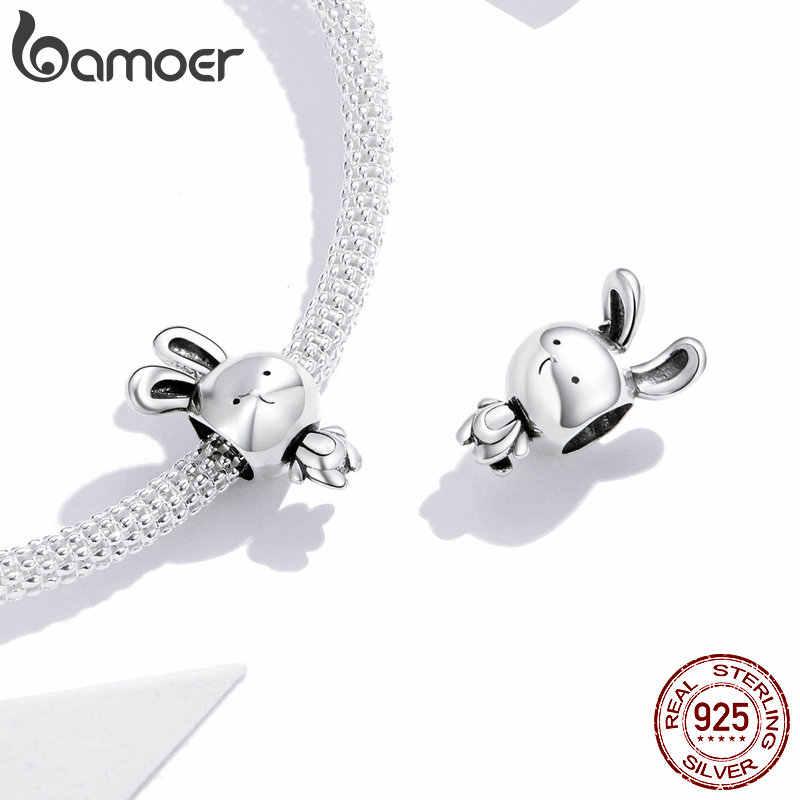Bamoer 925 Sterling Silver Animais Coelho de Metal Charme para Cobra Bracelete & Pulseira de Prata Fine Jewelry Making SCC1517 Originais