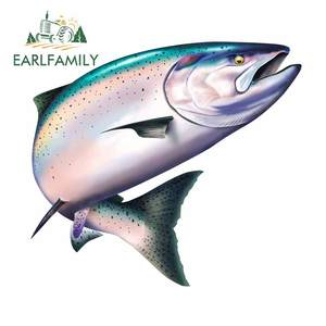 EARLFAMILY 13cm x 11.6cm For Salmon Vinyl Car Stickers Sunscreen Fine Decal Motorcycle Personality Occlusion Scratch Decoration