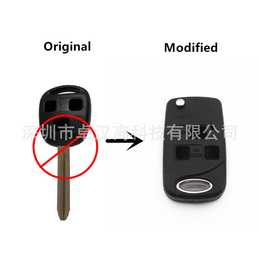 For Toyota Lexus LS Celsior Scion xB Instead of Original Factory Auto Car Key KETO New 3 Buttons Change Car Key Shell