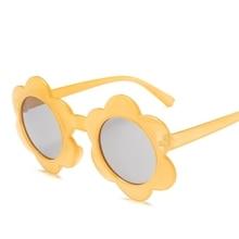 Новые Круглые Солнцезащитные очки с цветком UV400 для мальчиков и девочек, милые детские солнцезащитные очки