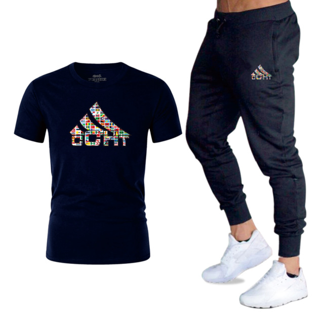 Brand T shirt Men Sets Fashion Summer Cotton Short Sleeve Sporting Suit T-shirt Trousers Mens 2 Pieces Sets Casual Clothing