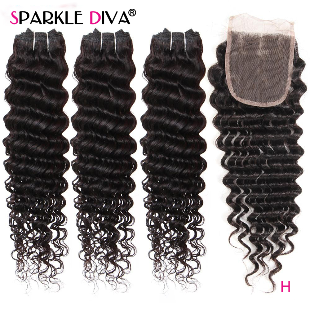 3 Bundles With Closure Deep Wave Human Hair Bundles Free Middle Three Part  Brazilian Hair Weave Bundles With Closure Remy Hair