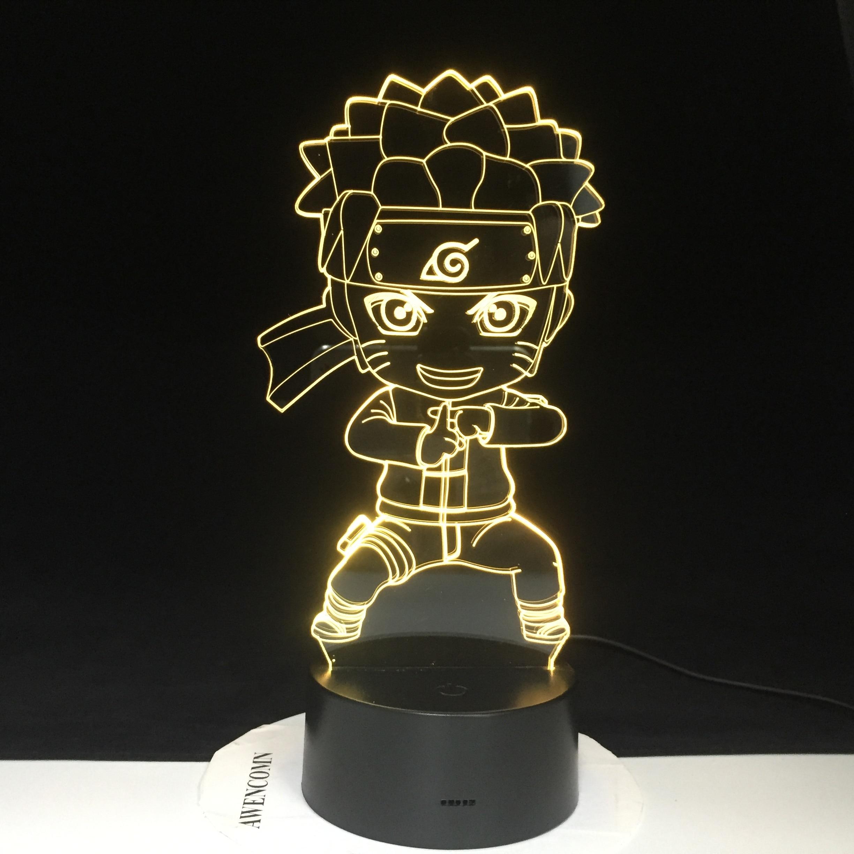 Uzumaki Naruto 3D Lamp Color Changing Light For Children Bedroom Decoration Nightlight Baby Kungfu Naruto Led Night Light Gift For Kids 3289