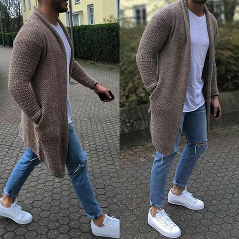 Cardigan Sweater Men Extra Long Mens Sweater Coat with Pocket Casual Slim Fit Solid Color Knitted Sweaters Pull Homme Men Coats