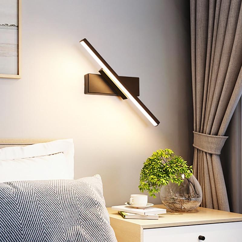 LED Wall Lamp Nordic Modern Minimalist Bedroom Bedside Lamp Creative Staircase Lamp Living Room Rotating Wall