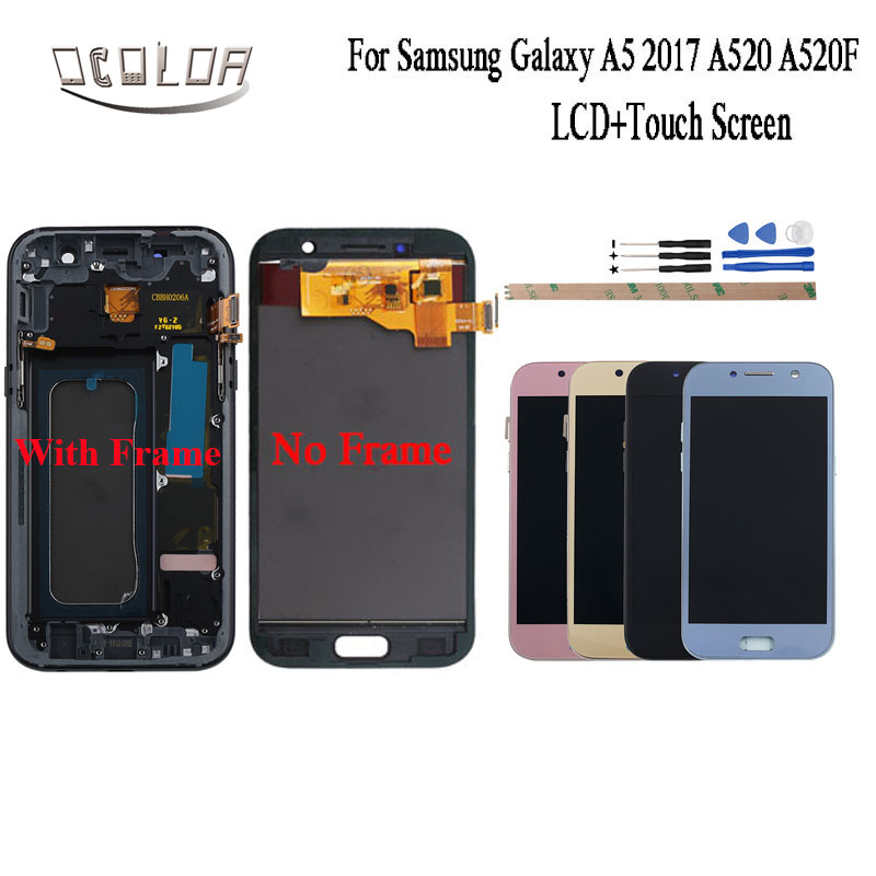 "ocolor For Samsung Galaxy A5 2017 LCD A520 A520F LCD Display and Touch Screen With Separate Frame Amoled 5.2""Repair Parts +Tools"
