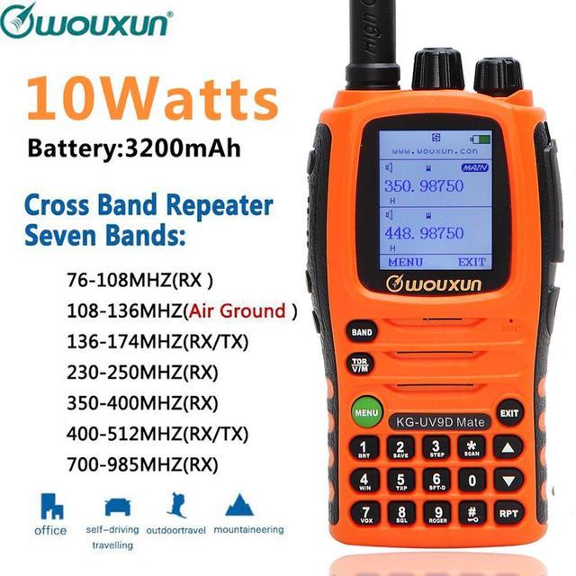 10W Wouxun KG UV9D Companheiro 7 Banda Incluindo AirBand 3200mAh Walkie Talkie Rádio Amador amador de banda Repetidor Cruz Atualização KG UV9D Plus