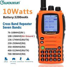 10W Wouxun KG UV9D Mate 7 להקת כולל AirBand 3200mAh צלב להקת מהדר ווקי טוקי חובבי חובב שדרוג KG UV9D בתוספת