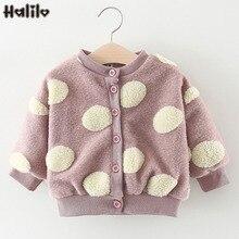 Halilo/зимнее пальто для маленьких девочек верхняя одежда в горошек с искусственным мехом для маленьких девочек Одежда для младенцев теплые пальто и куртки для маленьких девочек