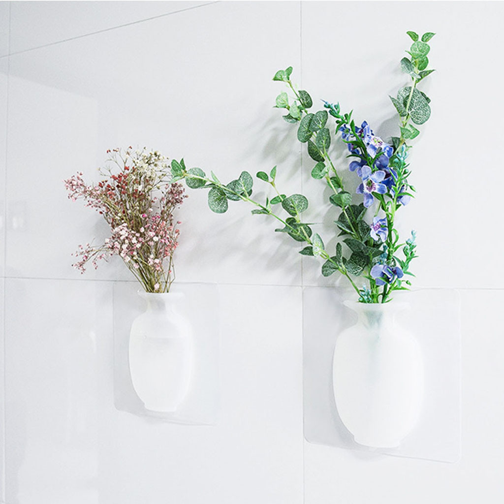 Magic Soft Silicone Leaves Bottle Sticker Vase Body for Glass Wall Flower Pots vase decoration home glass Vase Stickers D30 in Vases from Home Garden
