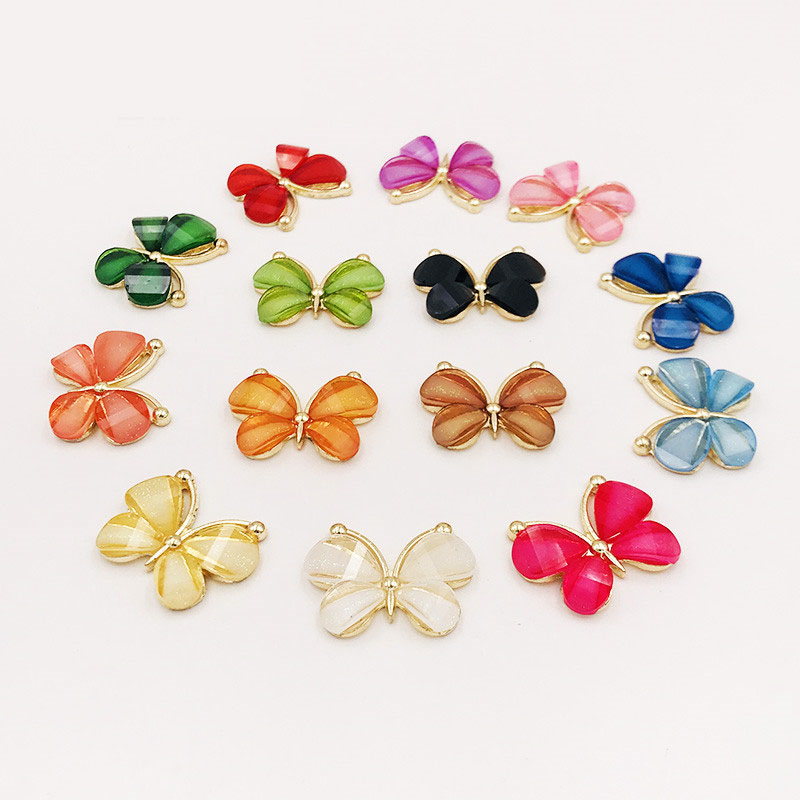10PCS/Lot 2.2*2.8CM Resin Alloy Flatback Butterfly Button For DIY Clothing Applique Metal Wedding Embellishment Jewelry Craft