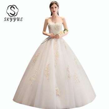 Wedding Gown Skyyue ER668 Embroidery Crystal Wedding Dress Plus Size Floor Length Vestidos De Novia Elegant Bridal Dresses