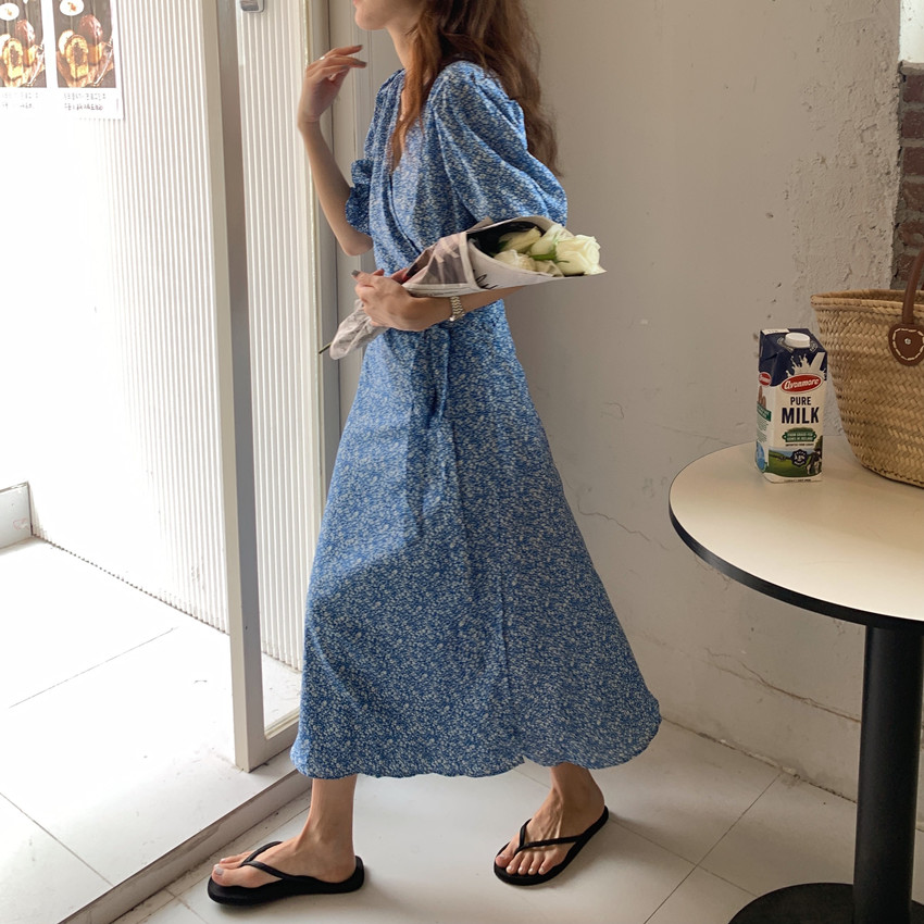 H076be05812fb46e6a56f2247f9c5ed8ad - Summer V-Neck Short Sleeves Lace-Up Floral Print Midi Dress