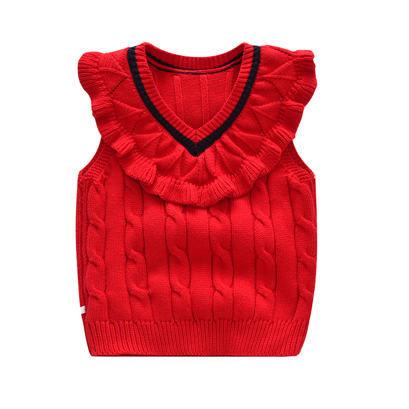 Children's Sweater Cotton Lace Vest Girl Cotton Vest For Autumn Winter New Ruffles Girls Sweater Toddler Girl Winter Clothes