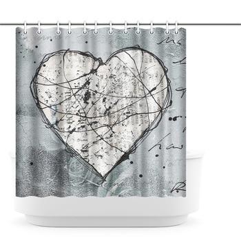 Photo Custom Shower Curtain Chained Heart Waterproof Polyester Fabric Bath Curtain for Bathroom Decor with Hooks 180x180cm 180x180cm pokemon shower curtain pattern customized shower curtain waterproof bathroom fabric shower curtain for bathroom