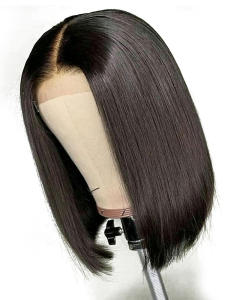 Yyong Short Bob Wigs Human-Hair-Wig Hairline Lace-Front Black Women Brazilian Pre-Plucked