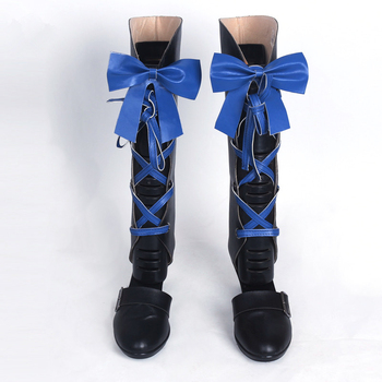 New Black Butler Kuroshitsuji Ciel Phantomhive Cosplay Boots w/Blue Bowknot Anime Cosplay Shoes for Women/Men Size 35-43 2
