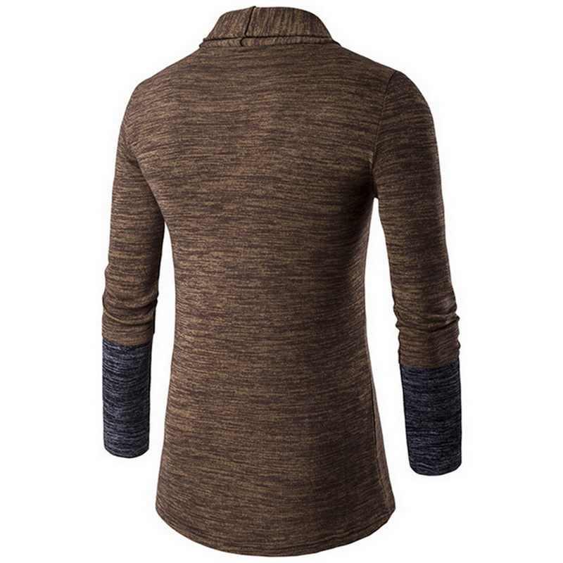 Jodimitty男性パッチワークスリムカーディガン秋冬暖かいカジュアルセーターロングニットターンダウン襟の上着プラスサイズM-4XL