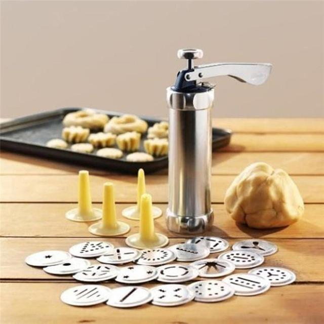 Cookie Dryer Twist Baking Tool Kit for DIY Biscuit Maker and Decorating with 20 Stainless Steel Cookie Plates and 4 Nozzles