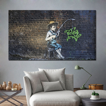 Classic Street Art Little Boy Fishing Oil Painting Posters Modern Wall Canvas Unique Gift For Home Decor
