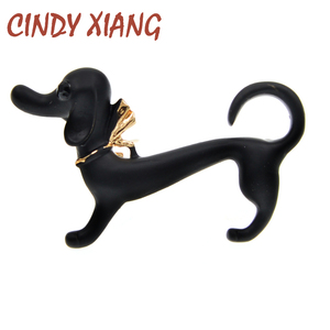 CINDY XIANG Enamel Cute Dog Brooches For Women Kids Animal Puppy Brooch Pin 2 Colors Available