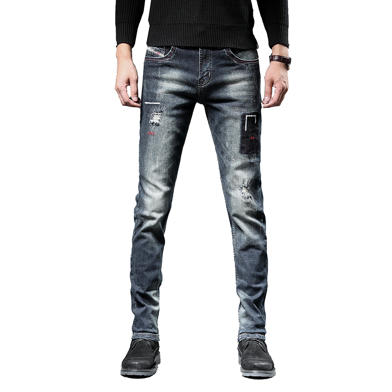 European American Style Casual Retro Ripped Jeans Men High Quality Stretch Slim Denim Jeans Mens Cotton Distressed Jeans