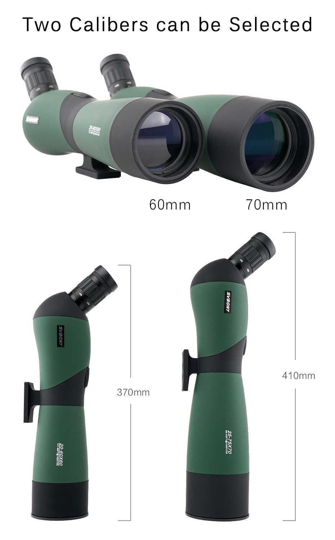 """SVBONY SV403 20-60X60/25-75x70mm التكبير نطاق الإكتشاف التلسكوبات متعددة المغلفة البصريات أحادي العين Spyglass ث/54 """"ترايبود للصيد"""