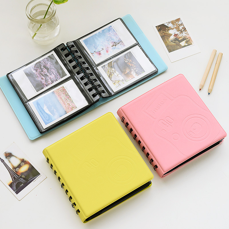 1 Piece Loose-leaf Photo Album PVC Solid <font><b>Coil</b></font> Album For 3 Inch Photo Mini Instax Pictures Storage Album <font><b>ID</b></font> Card Storage Case image