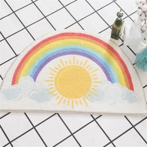 Half Round Cartoon Rainbow Bathroom Mat Non-slip Water Absorption Floor mat Cute Fruit Animal Printed Rug Doormat Carpet(China)